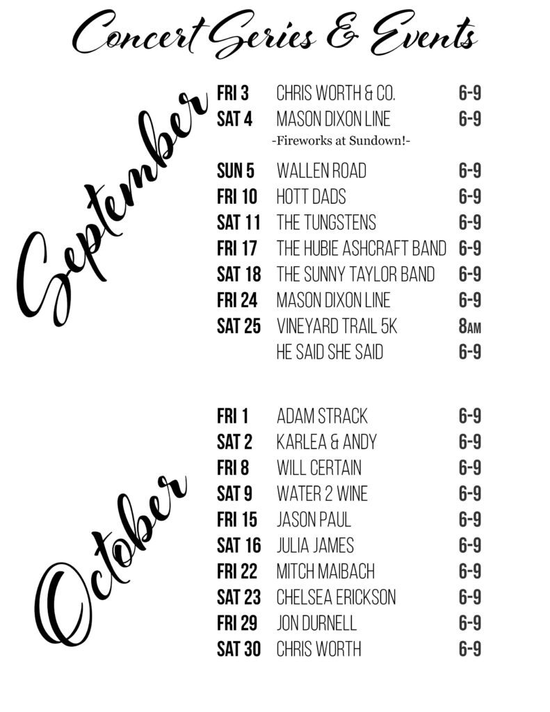 Schedule September October