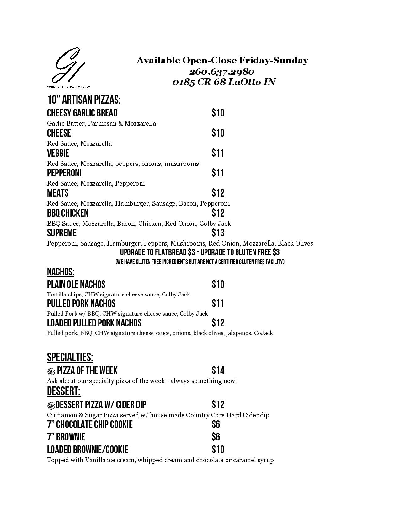 menu of food items available for purchase
